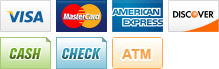 we accept visa, master card, american express, discover, cash, checks, and atm